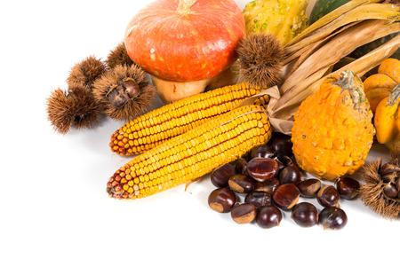 Autumn harvest - fresh autumn fruits and vegetables on wicker basket on white background Archivio Fotografico