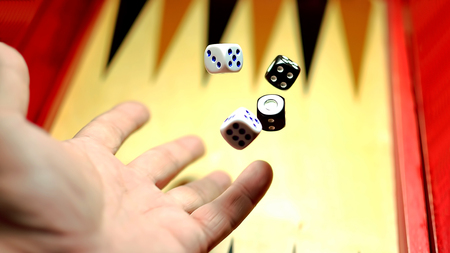 sweepstake: Man holding dice in his hands to win