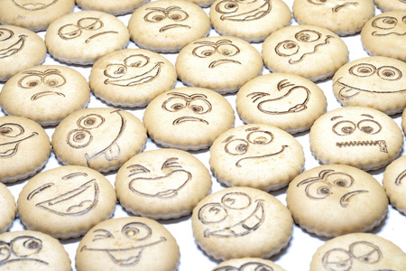 chocolate cookie: delicious shortbread with smiles Stock Photo