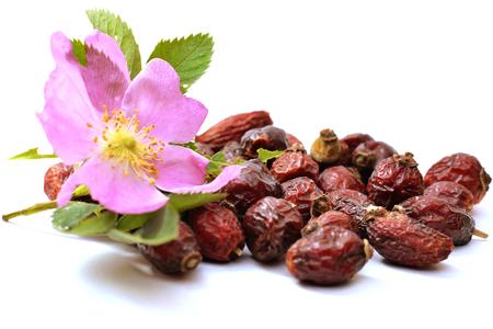 dry fruit: heap of  dry fruit rose on white background Stock Photo