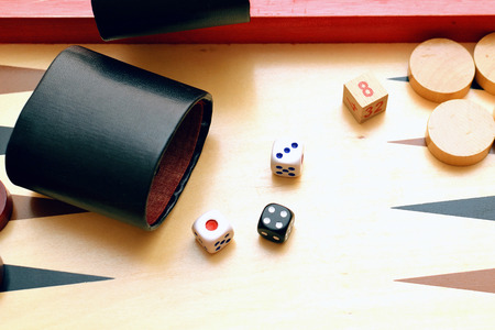 Dices set to play backgammon. Board game.