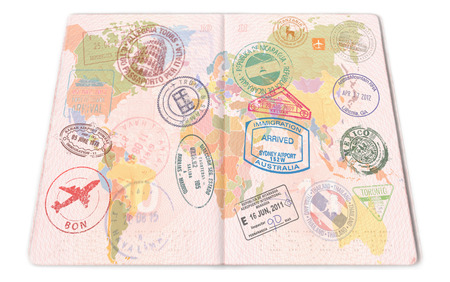 Passport stamps background with various countries. Closeup.