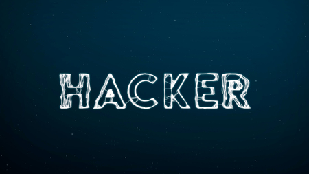Abstract technology digital backgrounds with word of HACKER. 3D rending. Stock Photo