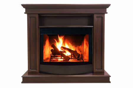 Brown burning fireplace isolated on white background Stockfoto - 109653738