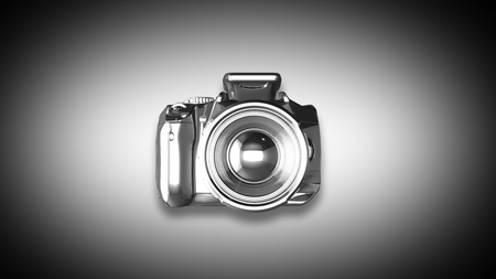 Digital camera from metal isolated on a white. 3D Render Banco de Imagens