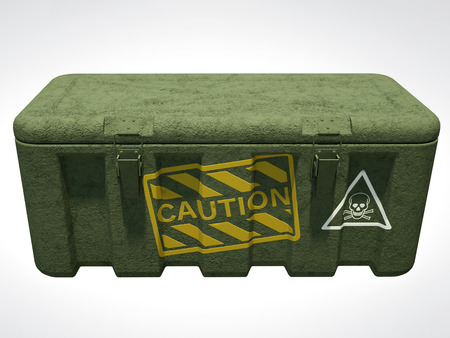 3D Rendering of military tough box isolated on white.