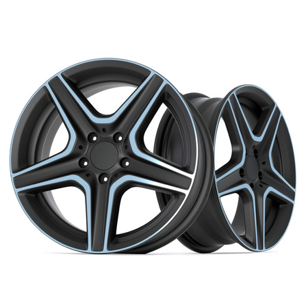 Ultra Realistic 3D Render of Steel Alloy Car Rims Isolated on White Background.