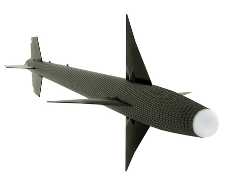 3D render of a Black Russian Ballistic Missile, isolated on a white background.