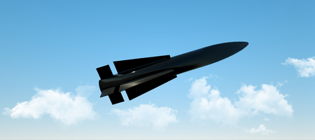Military missile in flight against the sky. warhead, atomic bomb, chemical weapons. rocket launch. 3D render. Stock Photo