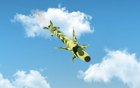Military cruise missile flies over blue sky. 3d illustration.