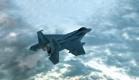 Modern Fighter Aircraft Computer generated 3D illustration Stock Photo