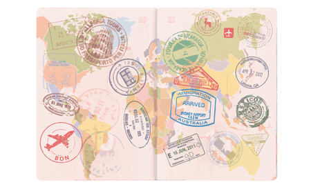 Open foreign passport with custom visa stamps. World map travel. Vector.