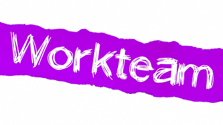 Work Team Written on Purple Torn Paper. Human Resource Concept. Stok Fotoğraf
