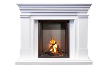 White Marble fireplace in action isolated on white background.