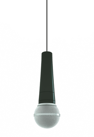 Hanging microphone on white background. 3D illustration