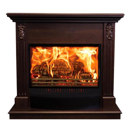 Classic burning fireplace isolated on white background.