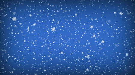 Falling Snowflakes on a Blue Background. Christmas illustration.