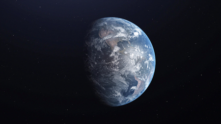Ultra Realistic Earth from Space 3d illustration.