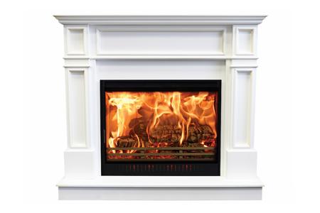 Classic marble burning fireplace isolated on white background.