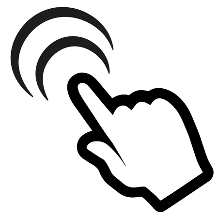 Clicking finger icon, hand pointer vector.