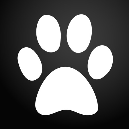 Paw Print icon. Black Background.