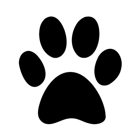 Black silhouette of a paw print, isolated.