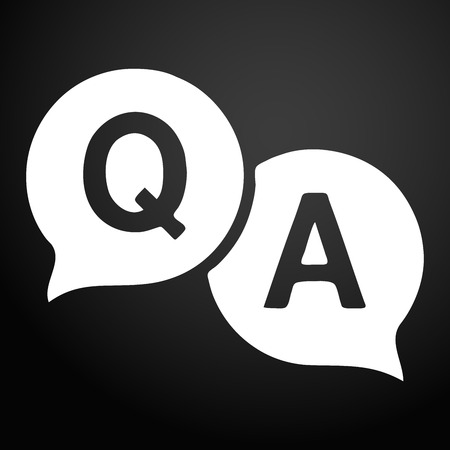 Question answer icon. Q&A speech bubbles line art vector icon for apps and websites.