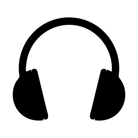 Black headphones icon- vector illustration.