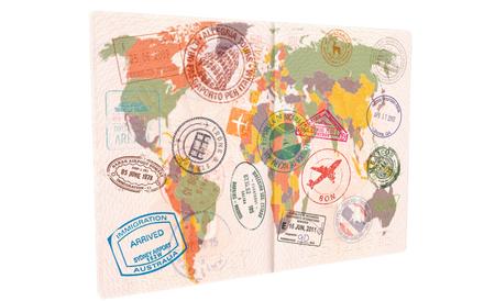 Passport with Visas, Stamps, Seals. World Map Travel or Tourism concept. 版權商用圖片