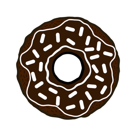 Donut isolated on white background. Simple flat vector illustration, EPS 10.