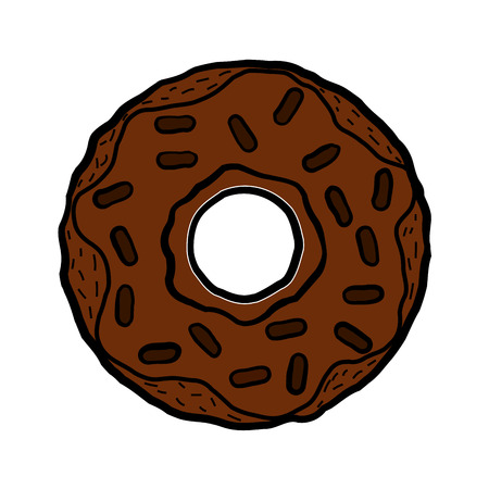 Donut isolated on a white background. Cute, colorful chocolate donut.