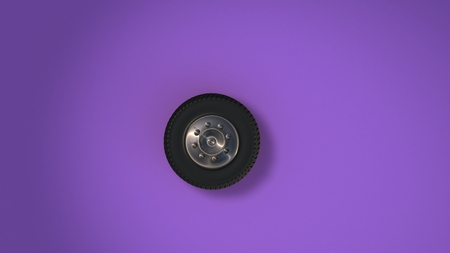 Car Wheel Isolated On Purple Background. 3D Render.