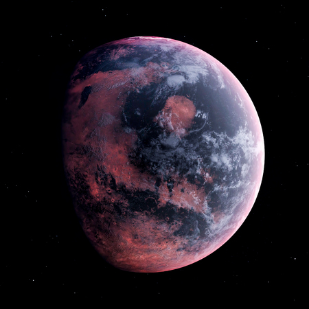 Alien Planet in the outer space, 3d rendering