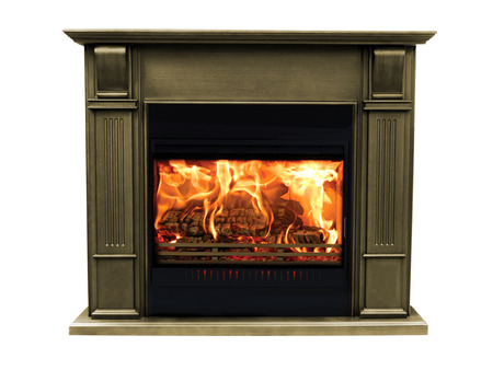 Classic brown burning fireplace isolated on white background. Stockfoto