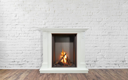 Burning classic fireplace of white marble. Empty living room on background. Stockfoto