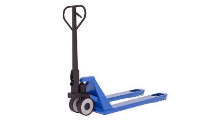 Blue Hand Pallet Truck isolated on white background. 3D illustration