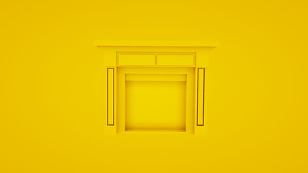 Yellow classic fireplace. 3D render.