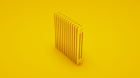 Yellow Steel tubular radiator. 3D illustration