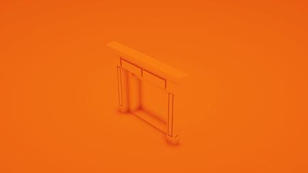 Orange classic fireplace. 3D render.