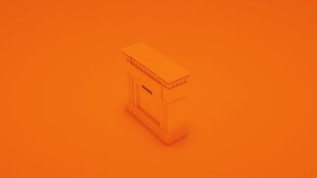 Orange modern fireplace. 3D illustration.