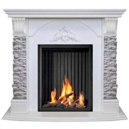 Stone burning fireplace isolated on white background.