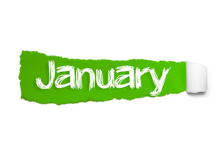 JANUARY word written under the curled piece of Green torn paper.
