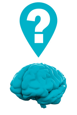 Human brain and a question mark. 3D illustration.