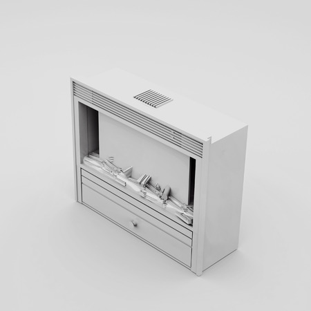Black and White electric fireplace. 3D render.