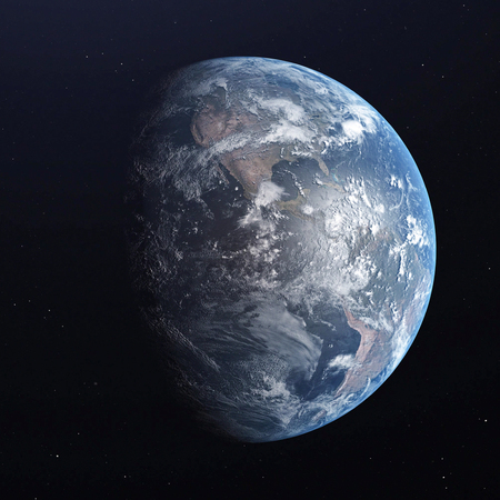 Earth blue planet isolated on black background. 3D render. 写真素材