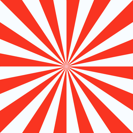 Red white sunbeam background. Red striped abstract wallpaper. Vector illustration. Illustration