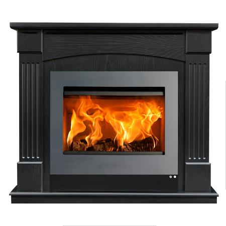 Dark wood fireplace isolated on white background. Stock Photo