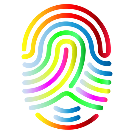 Color fingerprint symbol shape. Abstract vector fingerprint icon Biometric security sign.
