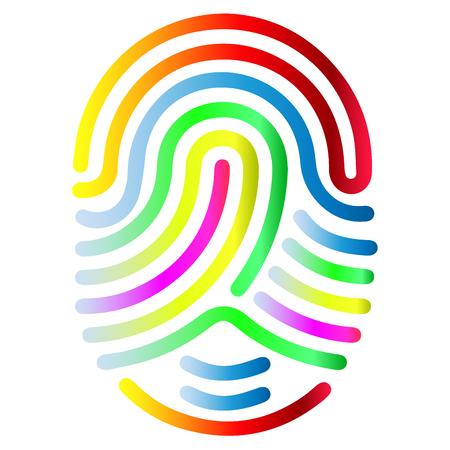 Forme de symbole d'empreinte digitale de couleur. Icône d'empreinte digitale abstraite vecteur Signe de sécurité biométrique.