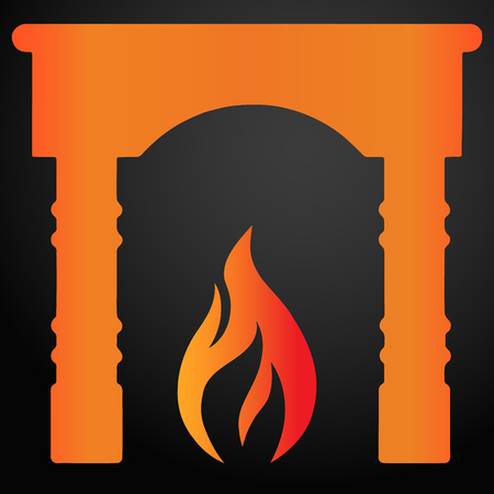Fireplace with flame icon. EPS10 vector. Foto de archivo - 125014821